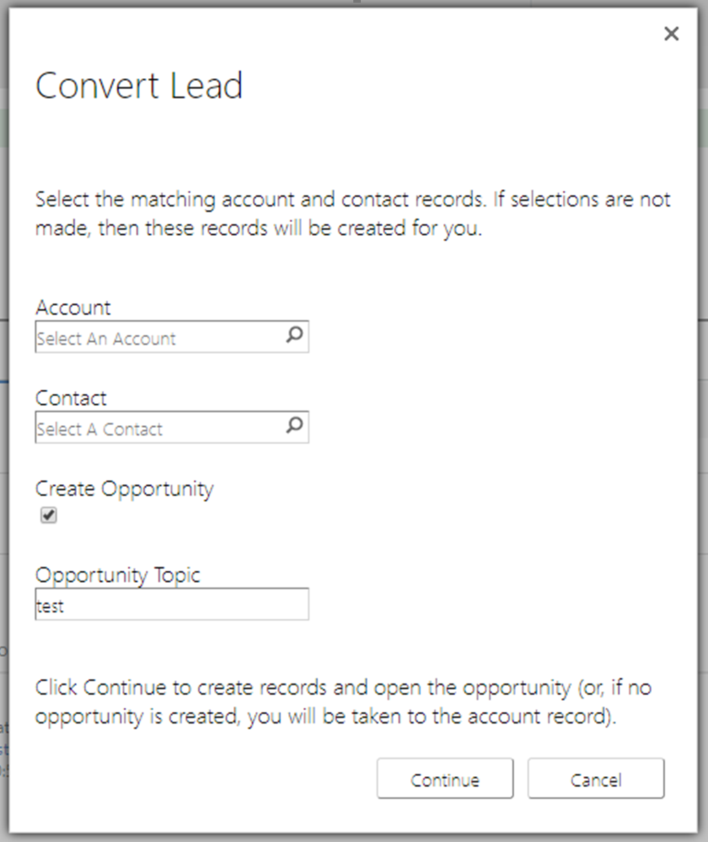 Dynamics 365 Lead Qualification Conversion Without Opportunity