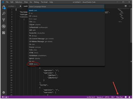 JSON code Formatting Option for Visual Studio Code