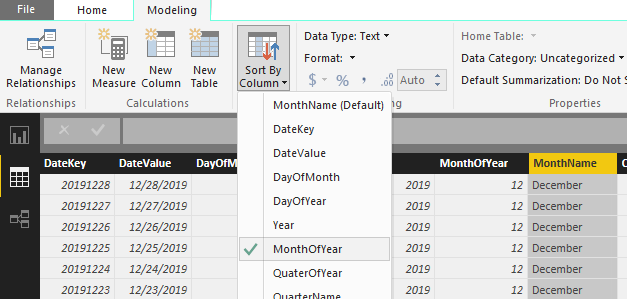 date table change sort by column