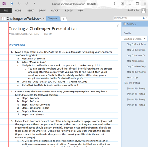 Downloadable OneNote Template for Building Challenger Training Decks