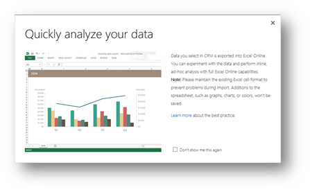 Using Excel for dashboards in Microsoft Dynamics CRM 2015 Spring UR1 Release