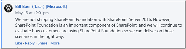 No SharePoint Foundation for SharePoint 2016