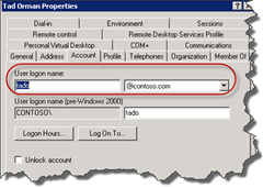 Active Directory User logon name or UPN