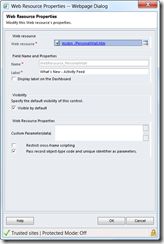 CRM 2011 Activity Feed Web Resource Settings