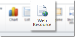 Web resource button within dashboard window