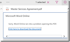 Sorry, Word Online ran into a problem opening this PDF SharePoint Online