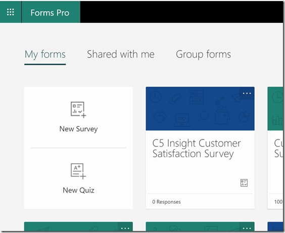Microsoft Forms Pro Landing new survey