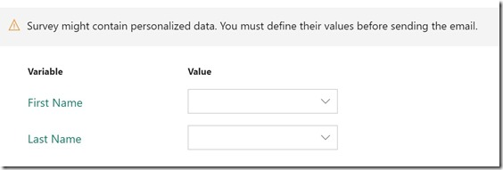 Microsoft Forms Pro Variables