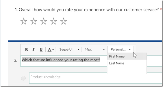 Microsoft Forms Pro Personalization Question