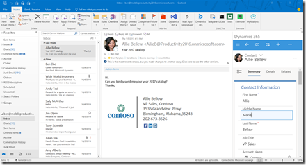 Dynamics 365 App for Outlook Screenshot