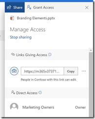 Broken permissions via SharePoint Online sharing link