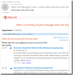 Office 365 message center weekly digest email