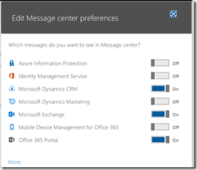 Office 365 message center preferences