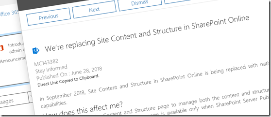 SharePoint Site Content Deprecated
