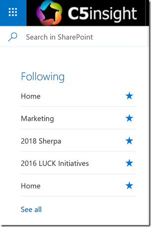 SharePoint Following all named Home