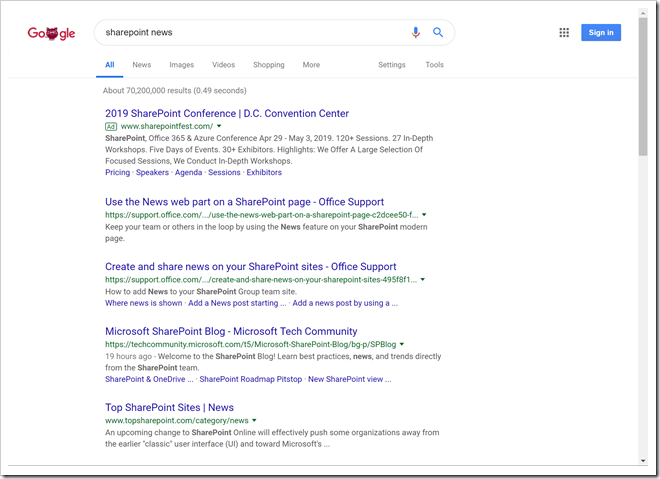 Searching Google for SharePoint