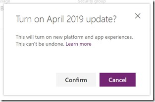 April 2019 Update Confirm