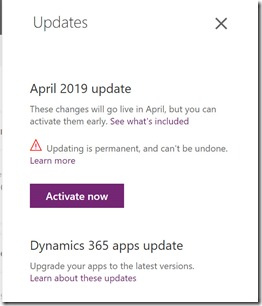 April 2019 update Activate Now