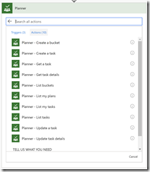 Microsoft Planner Actions in Microsoft Flow