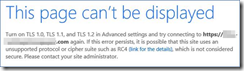 This page can't be displayed error SharePoint 2013 Turn on TLS