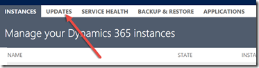 Dynamics 365 Administration Center Updates tab