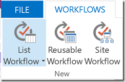 Screenshot: SharePoint Workflow Types Menu