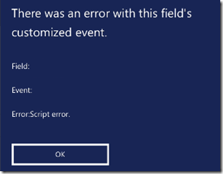 Dynamics CRM Mobile Error customized event