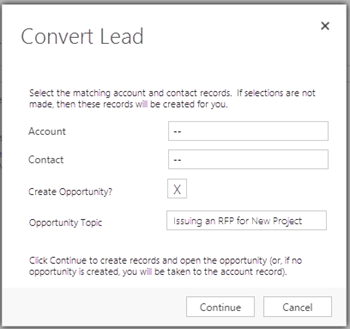 Convert Lead Dialog Box to Create Opportunity in Microsoft Dynamics CRM 2015 2016
