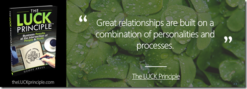 Quote - Relationships are built on personality and process - Geoff Ables