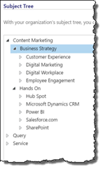 Using the CRM Subject Tree to create Marketing Content Categories in the Knoweldge Base KB