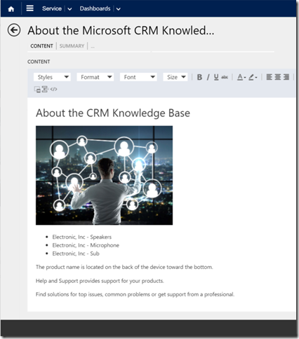 Screenshot of Microsoft CRM Marketing Content Management