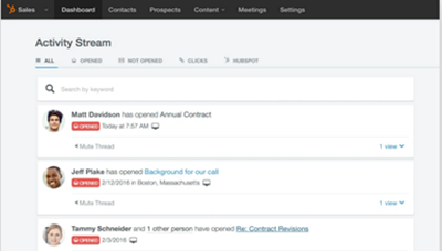 Microsoft Outlook Email Click Tracking in the HubSpot Sales Activity Stream