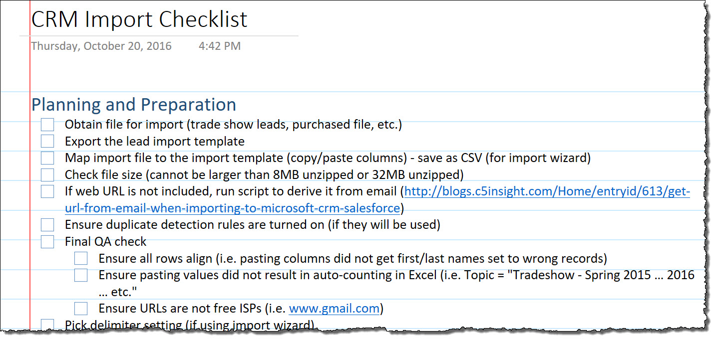 CRM Import Checklist